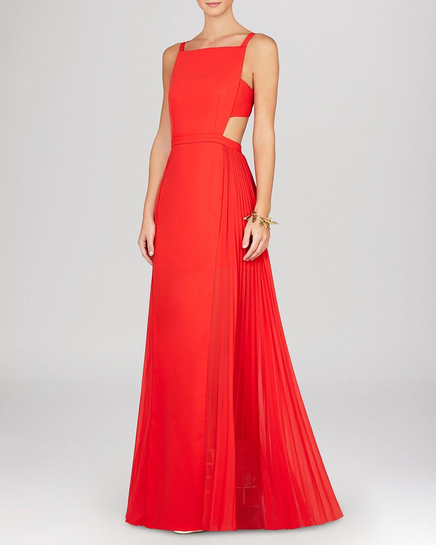 Bcbgmaxazria gown brielle sleeveless side cutout pleat skirt