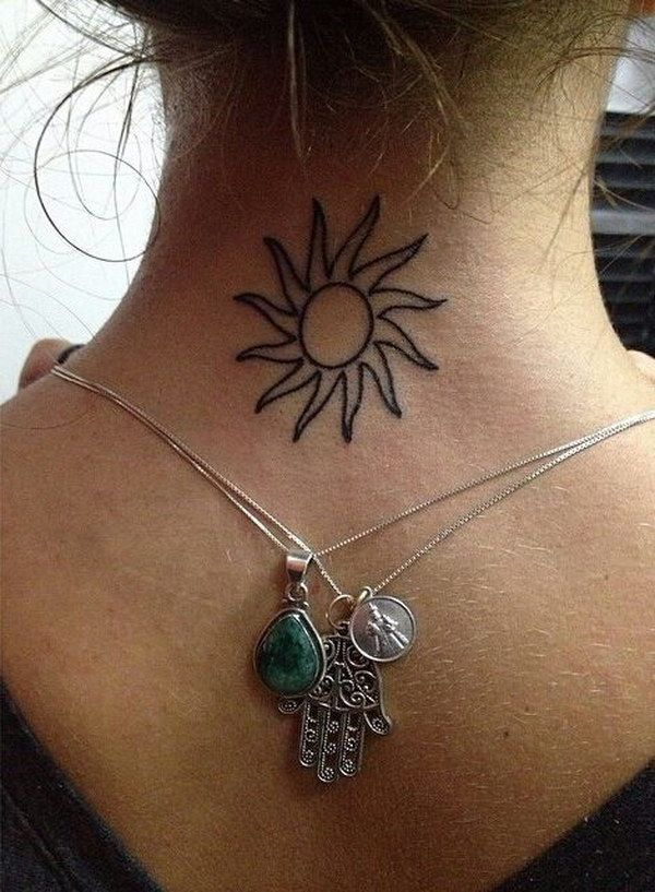 Sun Tattoo At The Back Of The Neck Top Of The Back Behind The Neck Tattoos Sun Tattoo Back Of Neck Tattoo