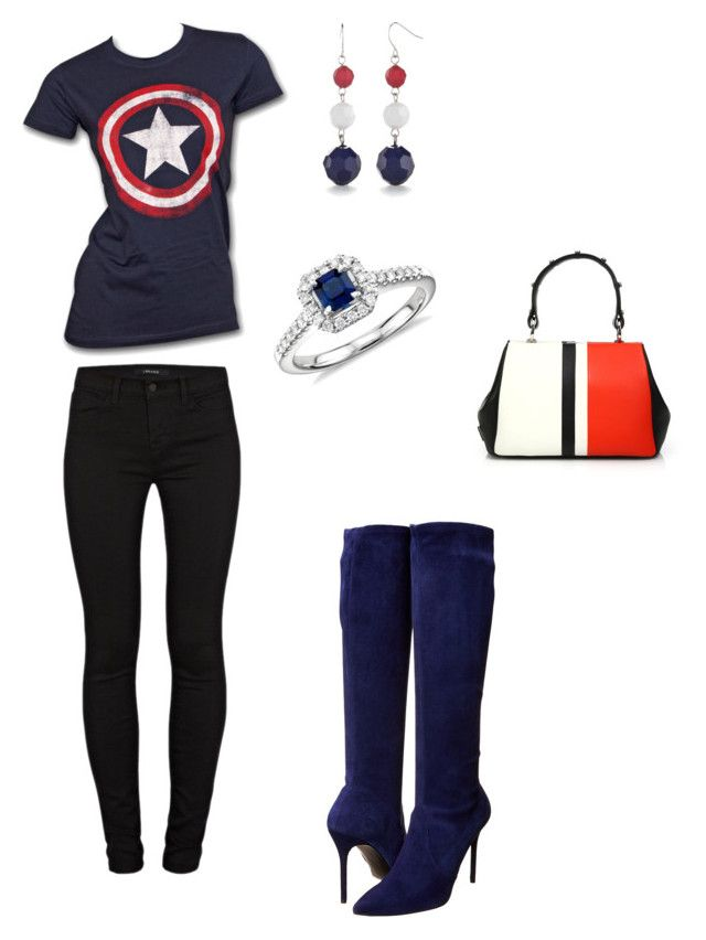"""""""Captain America"""" by lawmouse ❤ liked on Polyvore featuring Marvel, J Brand, Stuart Weitzman, Prada, Kim Rogers and Blue Nile"""