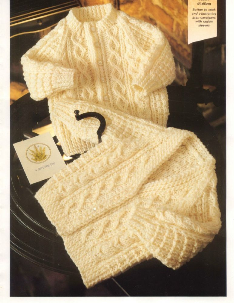 PDF Digital Knitting Pattern Baby Childs Aran Cable Cardigans ...