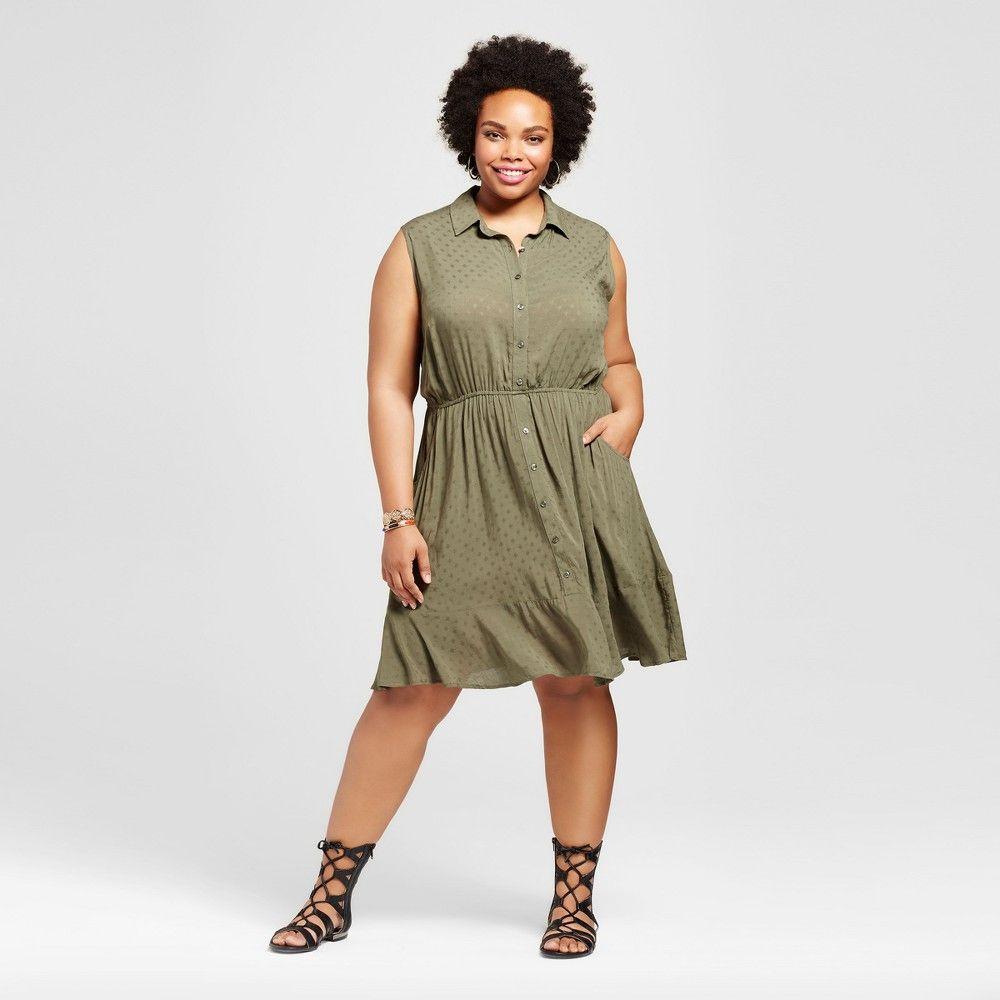 Womenus plus size textured sleeveless shirtdress ava u viv olive
