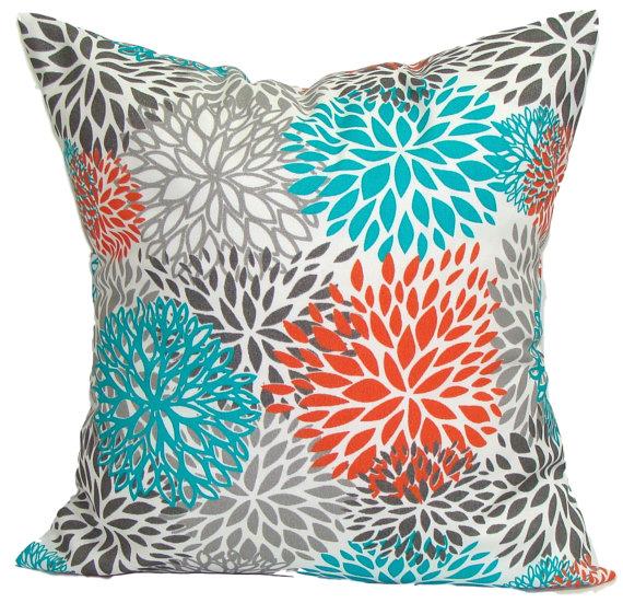 Blue Outdoor Pillows Blue Floral Pillow Cover Decorative Pillow
