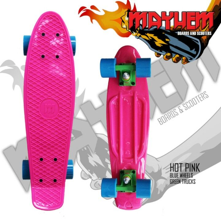 Pink Penny Board 909.217.4395 | Pink, Hot pink, Blue green