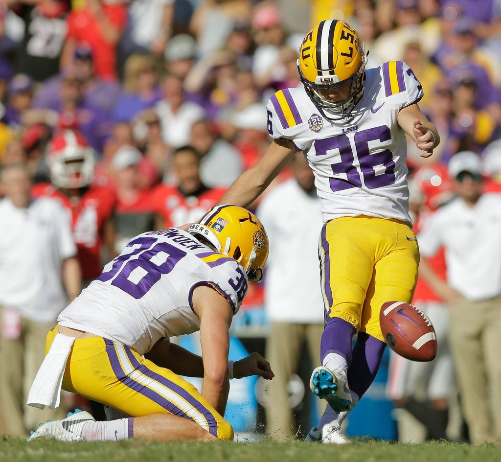Cole Tracy Ties Lsu Kicking Record In Front Of Sellout Crowd Against Georgia Lsu Lsu Tigers Football Tracy