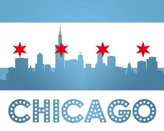 Chicago Flag Skyline Print Diy Printable Wall Art Digital Art Print At Home Chicago Flag Wall Art Diy Prints Diy Printables Chicago Flag
