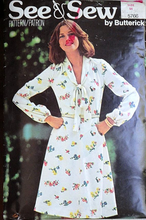 Vintage 70's See & Sew 5766 Sewing Pattern By Butterick, Misses' Dress, Size 14, Bust 36