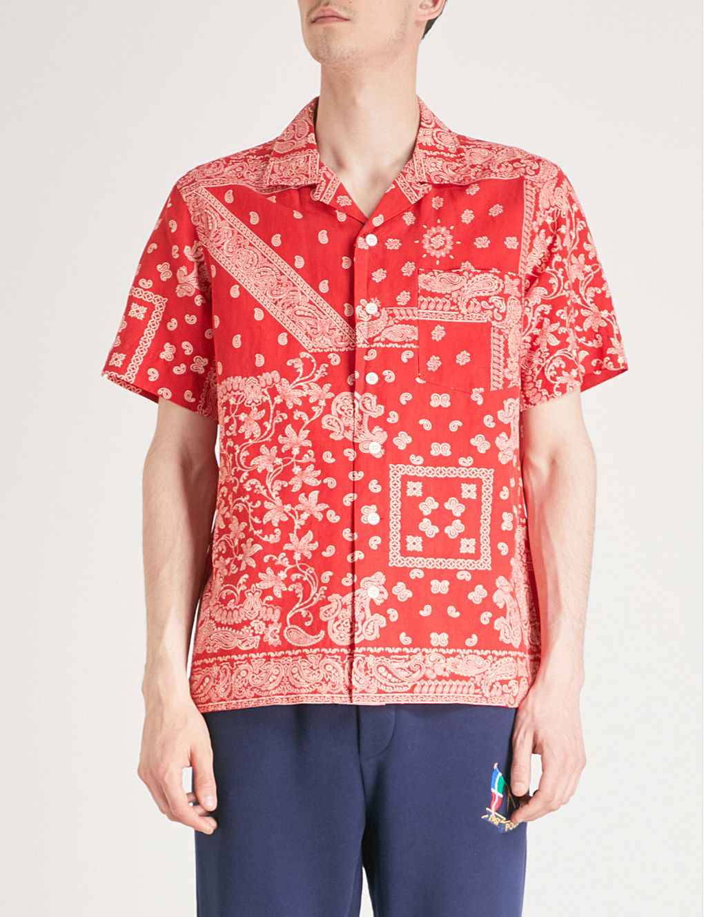 cf01d0fb9 POLO RALPH LAUREN - Bandana-print cotton, linen and silk-blend shirt |  Selfridges.com