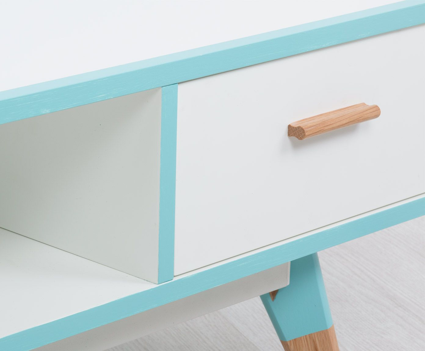 Salontafel Enjoying, wit/lichtblauw/naturel, L 120 cm | Westwing Home & Living