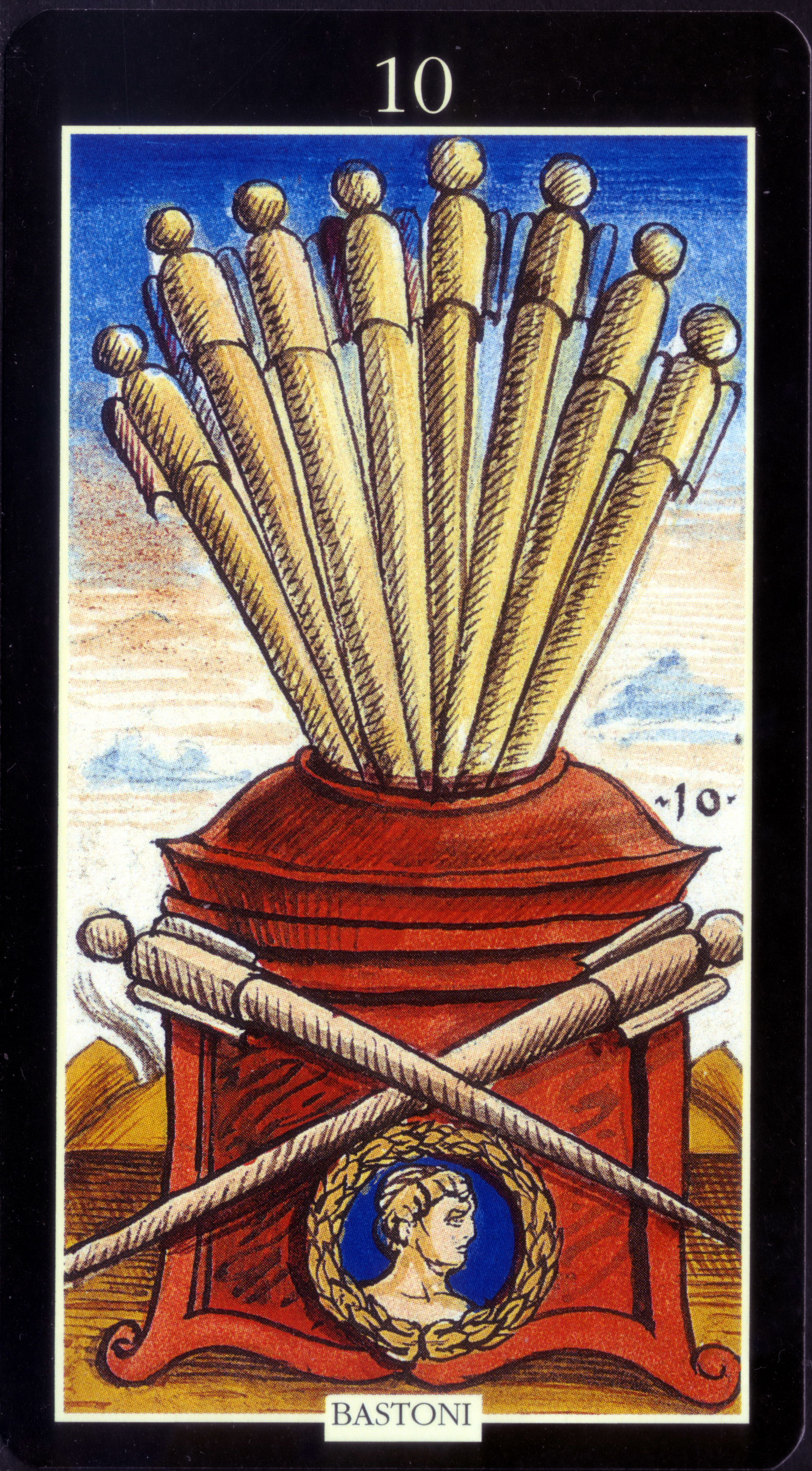 10 of wands from sola busca tarot deck by lo scarabeo 2016
