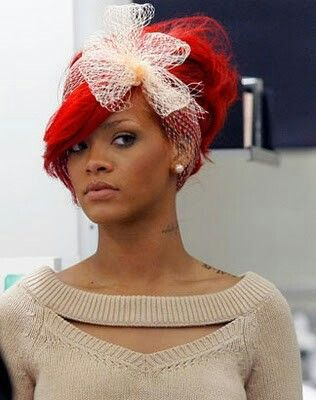Rihanna red hair up do