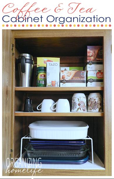 coffee tea cupboard and casserole dish organization organize your kitchen frugally day 22 on kitchen organization dishes id=32439