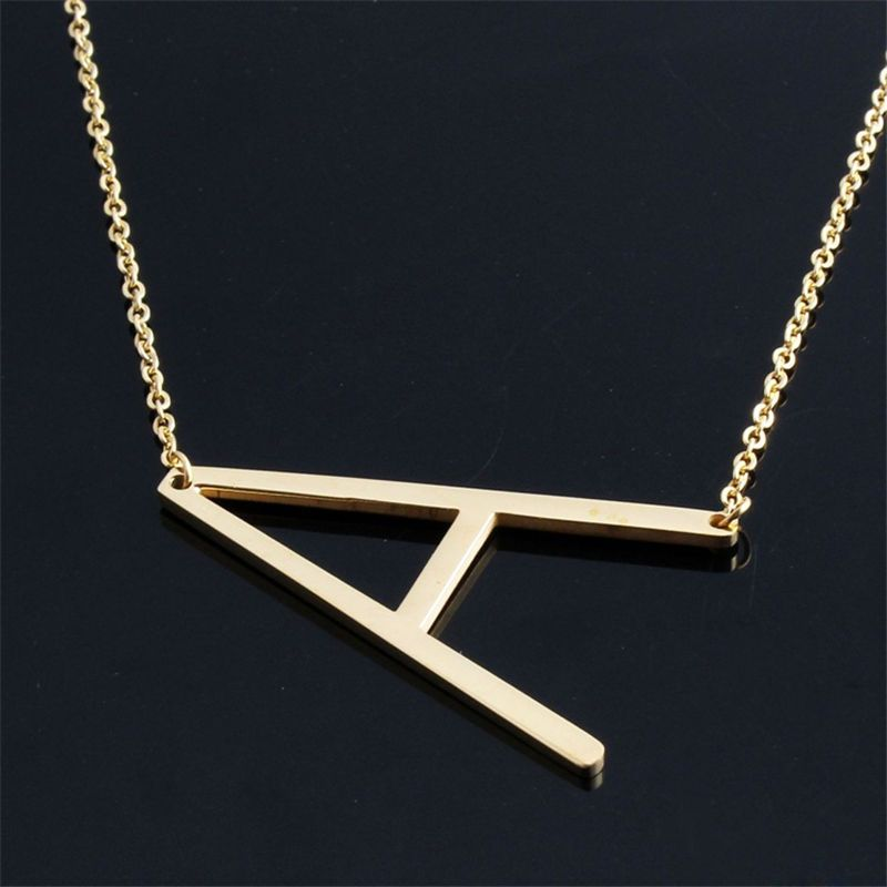 New Fashion jewelry for women big 26 Letter Necklaces Pendants stainless steel