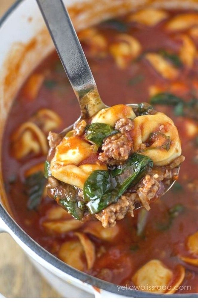 Tortellini Soup With Italian Sausage & Spinach | Easy Soup Recipes Ideas images