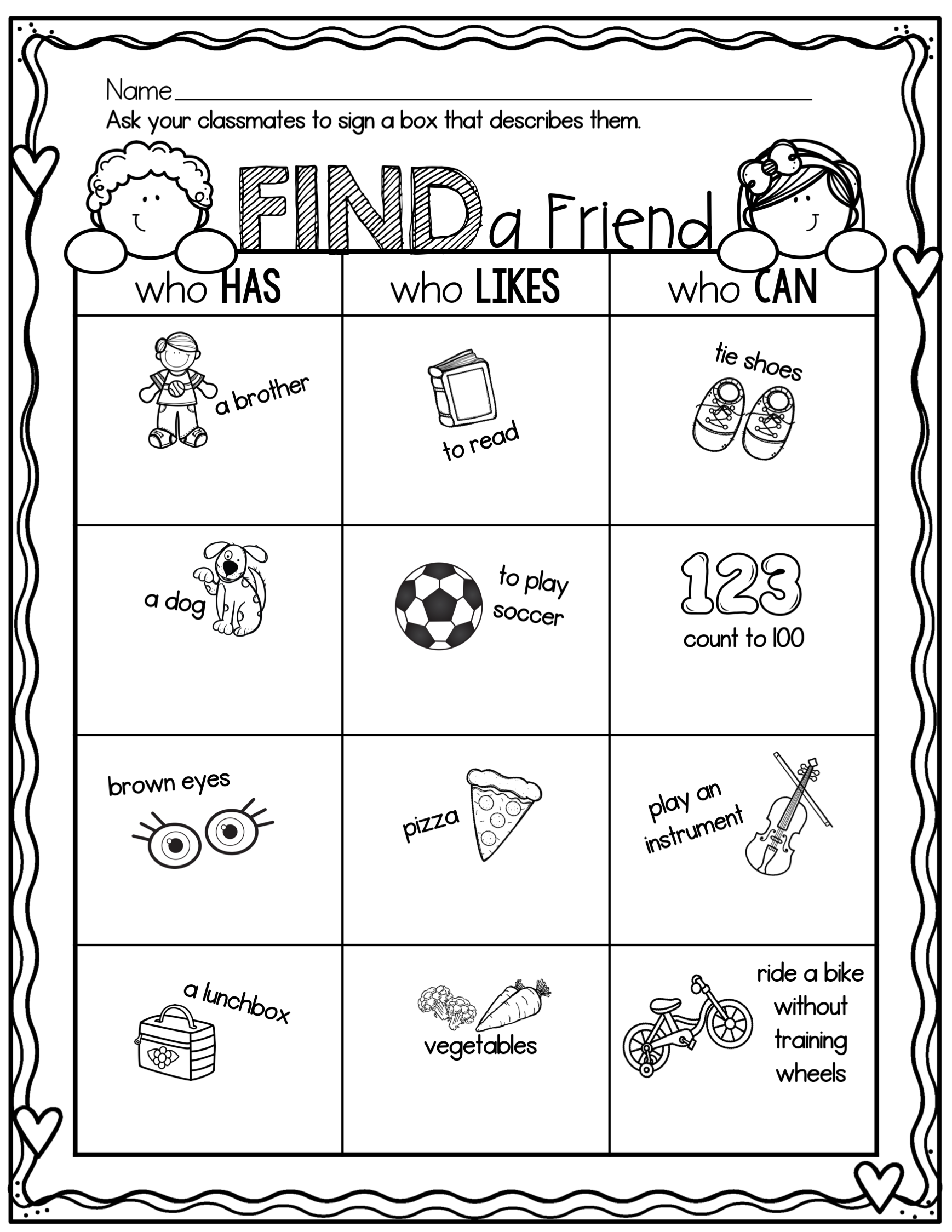Find A Friend Back To School Activity