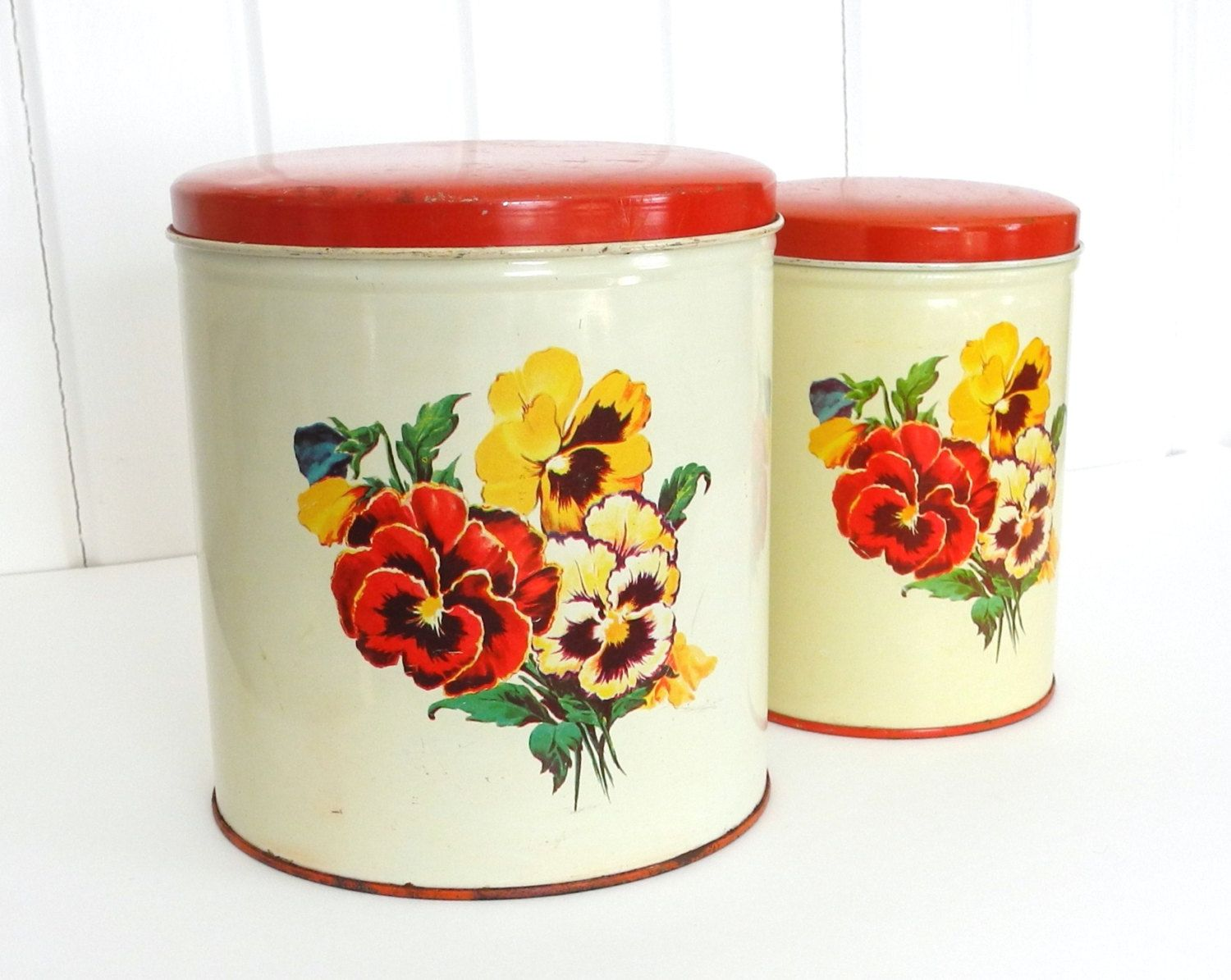 Vintage Parmeco Canisters, Set Of 2 Metal Kitchen Canisters With Red Lids  And Pansy Motif, Parker Metal Dec. Co