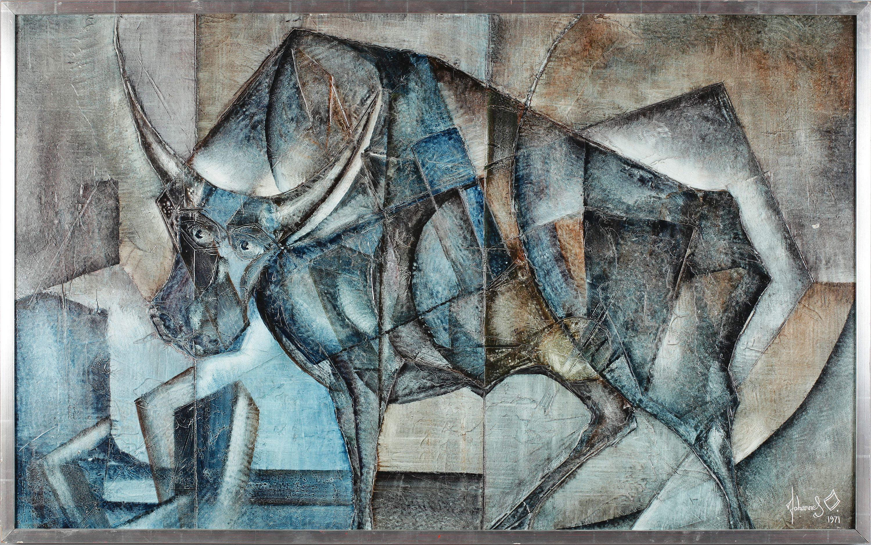 JOHANNES OLSSON Olja på pannå, signerad och daterad 1971. Tjur. 73 x 120 cm.