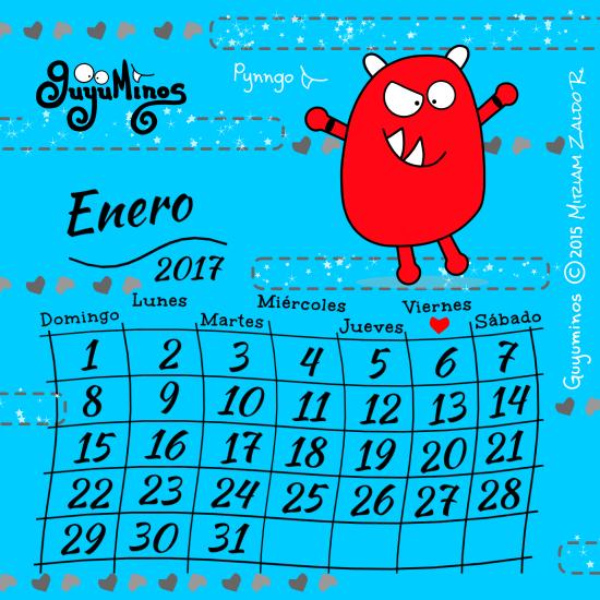 Que Disfrutes de cada día de Enero y de todo el 2017 ;) #calendario   #enero   #guyuminos   #cute   #monstruo   #kawaii   #ilustracion   #frases   #pynngo