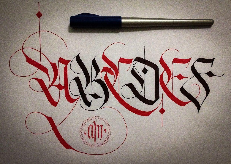 Calligrafia FrakturAlphabet normal & Decorative letters. Upper & Lower case.