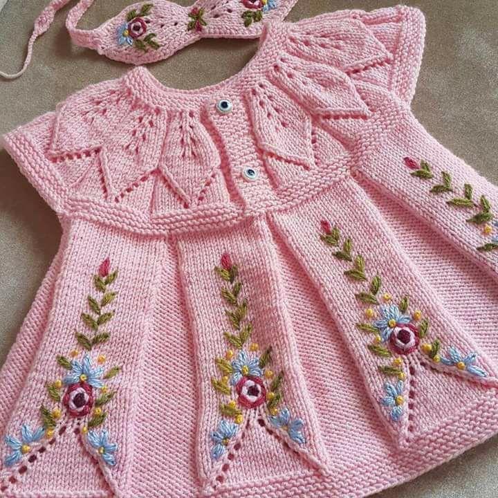 Yaprak Robalı Pembe Renk Örgü Bebek Elbisesi Modeli Yapılışı
