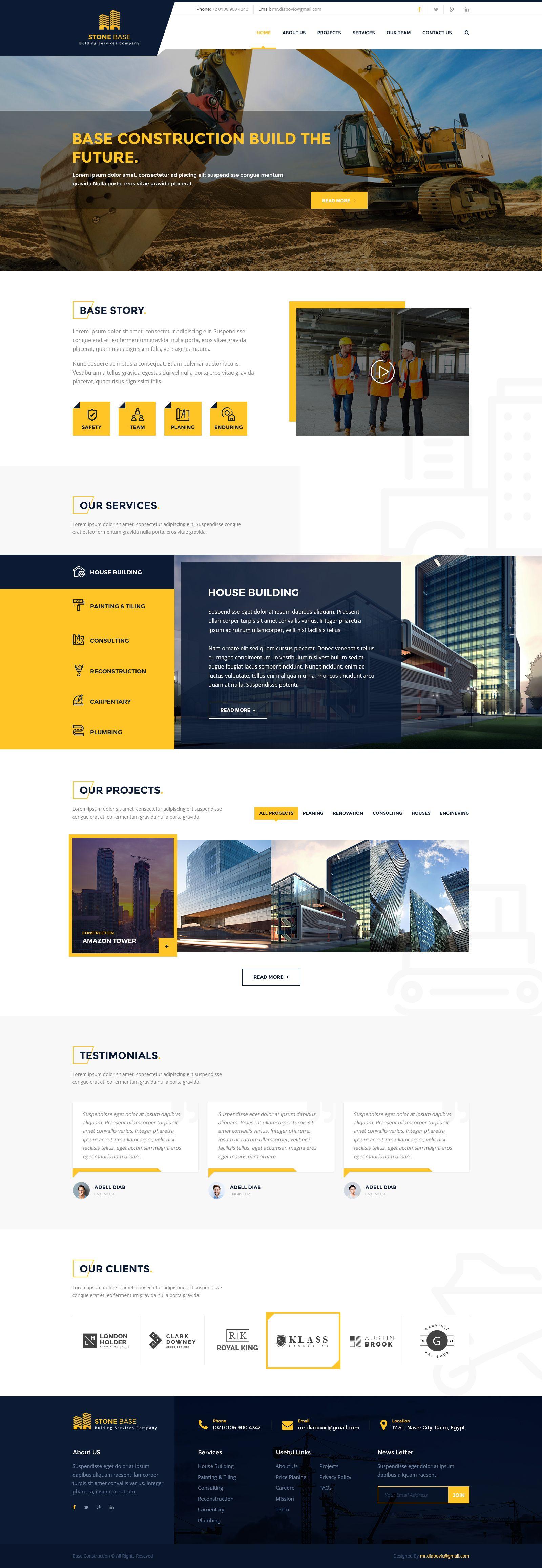 Stone Base Construction Building Psd Template Construction Base Stone Amp Modern Website Design Web Layout Design Profolio Design