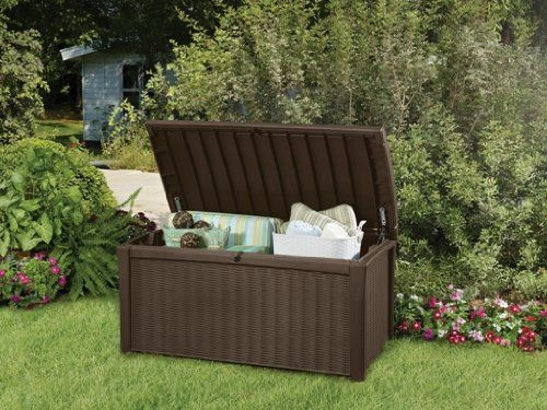 Keter Deck Box, 110-Gallon. The Borneo 110 Gallon deck box has a framed rattan look that will add sophisticated decor to your back yard. The large 110 gallon capacity makes storing cushions easy, or for any other storage needs you may have.