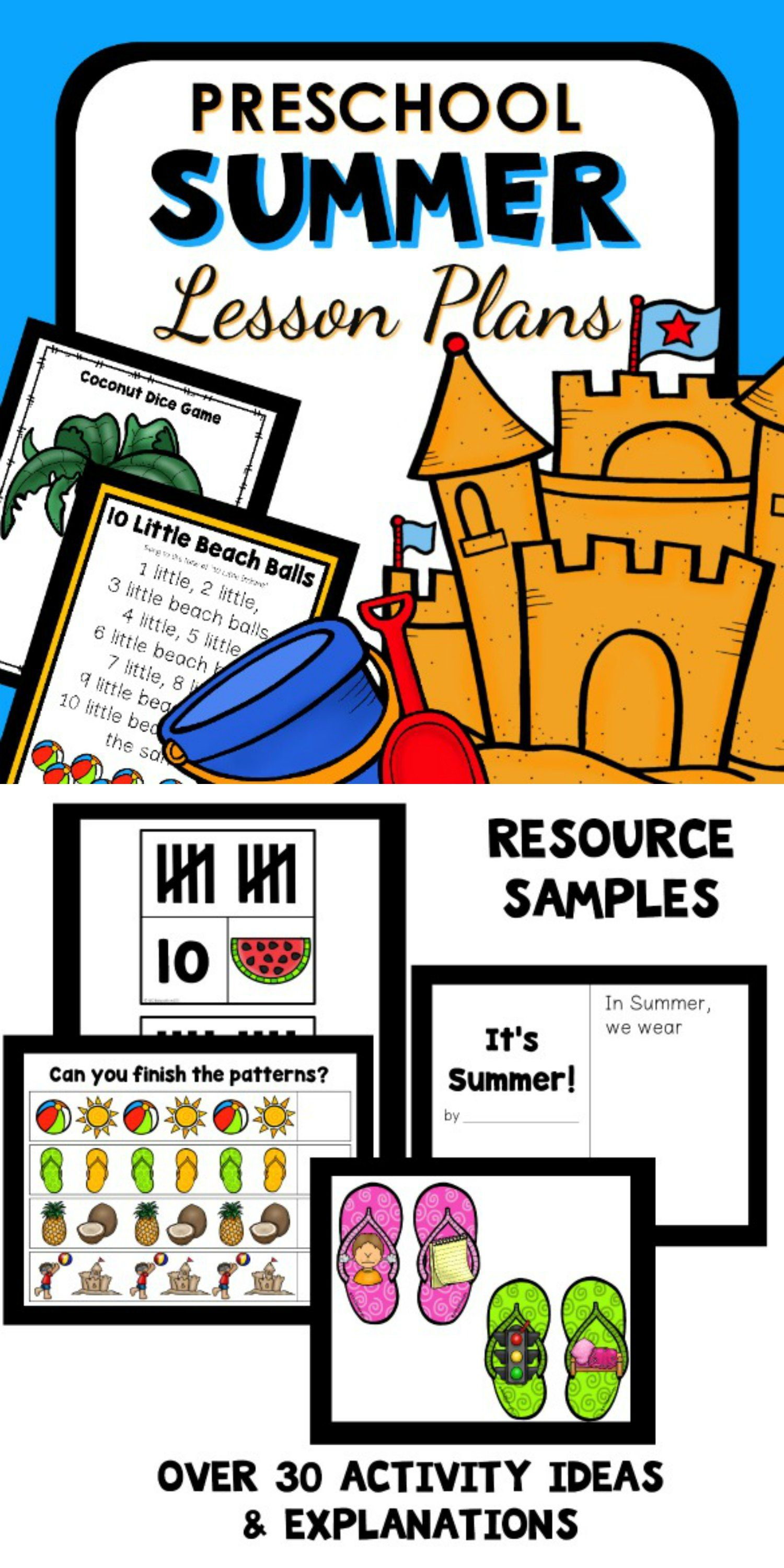 Summer Theme Preschool Classroom Lesson Plans
