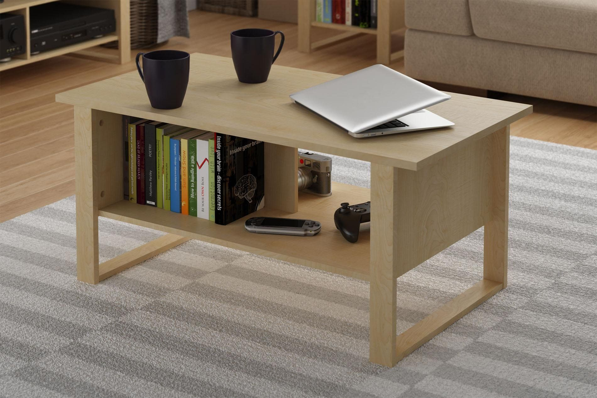 Altra Simple Modern Coffee Table Natural Maple Grain