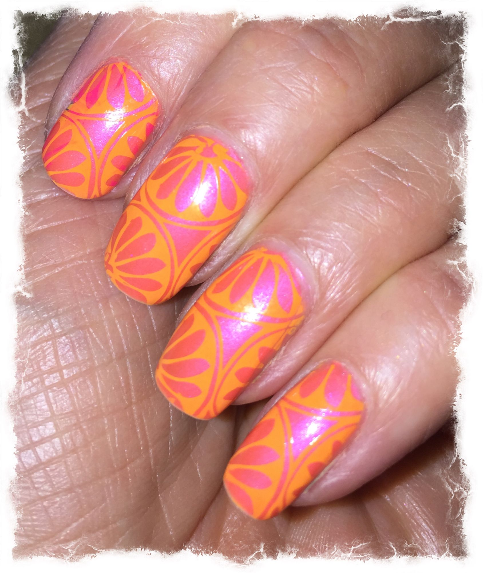 Pink and orange. My nails, Pink and orange, Nails
