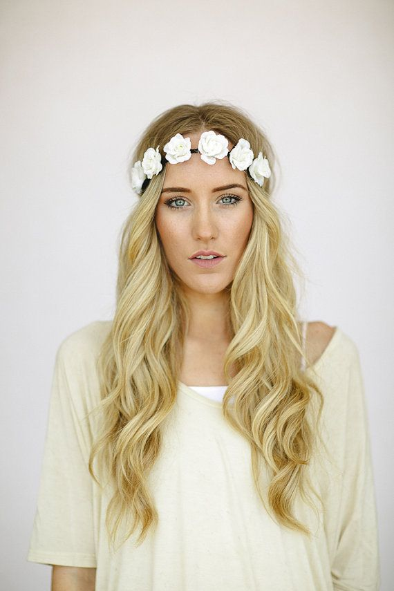 Flower Crown Wedding Headband Bohemian Hair Band in Ivory Bride s Hair for  Wedding Women s Flower Headband Stretchy Crown cf5908f208b