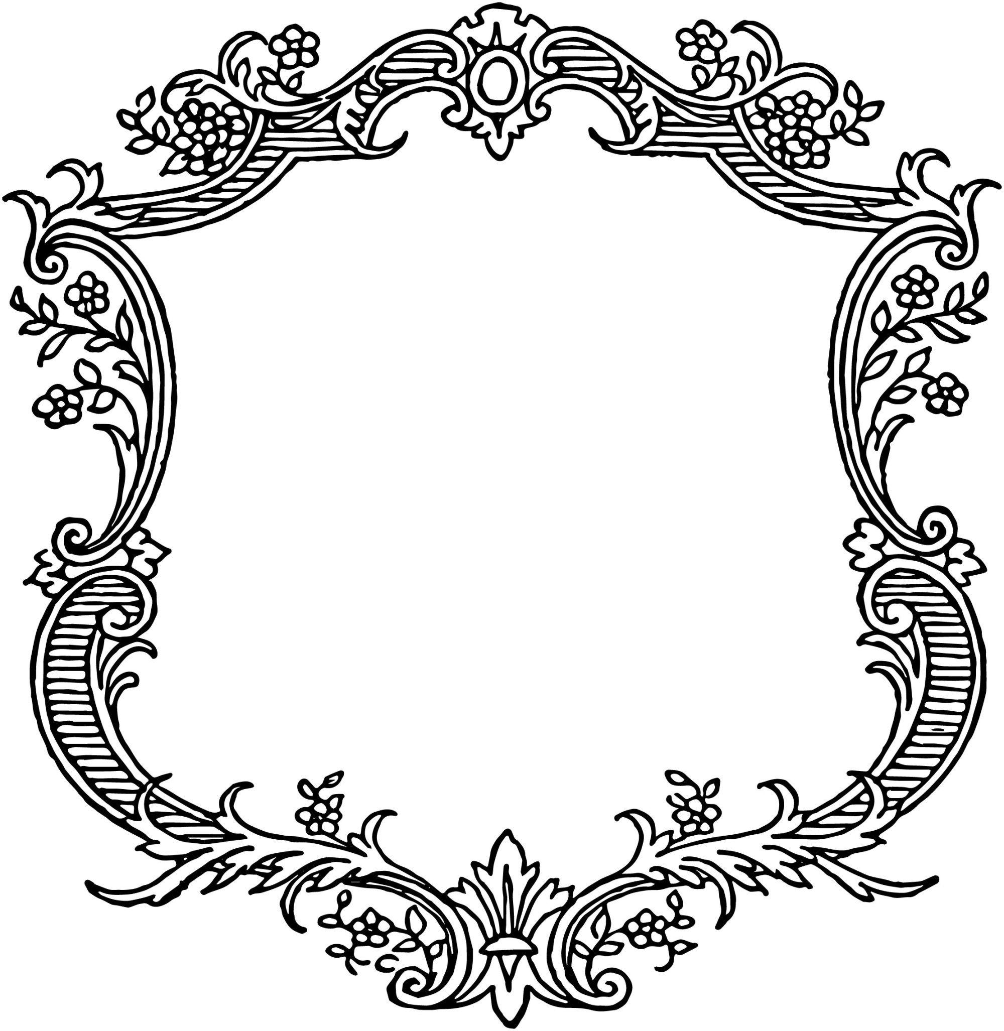 Free Vintage Floral Scroll Border Frame Clip Art Borders Vintage Frames Vector Vintage Frames