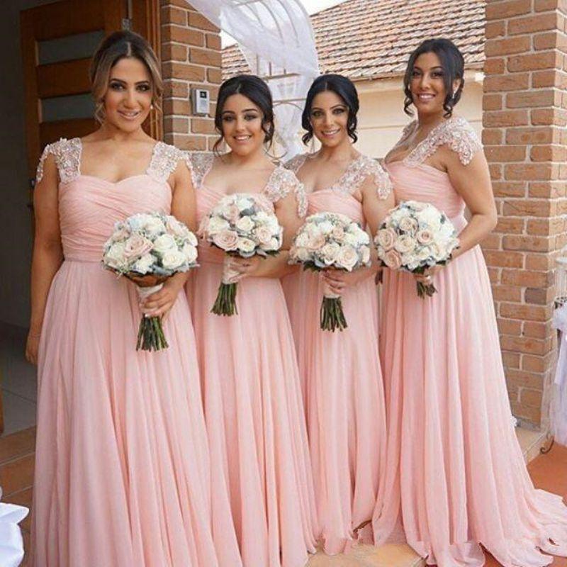 2017 New Arabic African Chiffon Pink Blush Bridesmaid Dress Plus