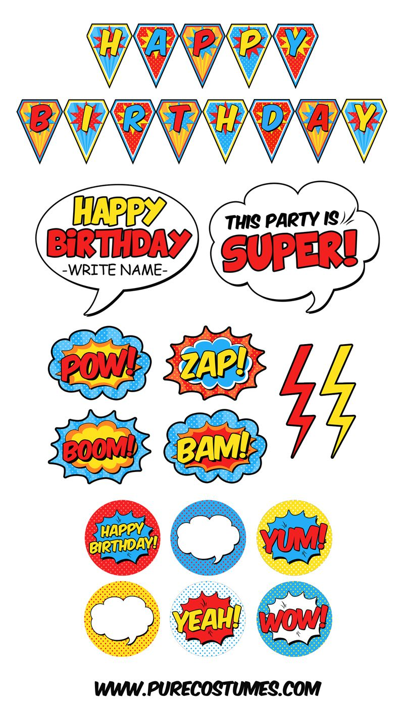 Printable airplane party backdrops party decorations diy template - Free Superhero Party Printables Purecostumes Com Blog Superheroparty Superheroes Printables