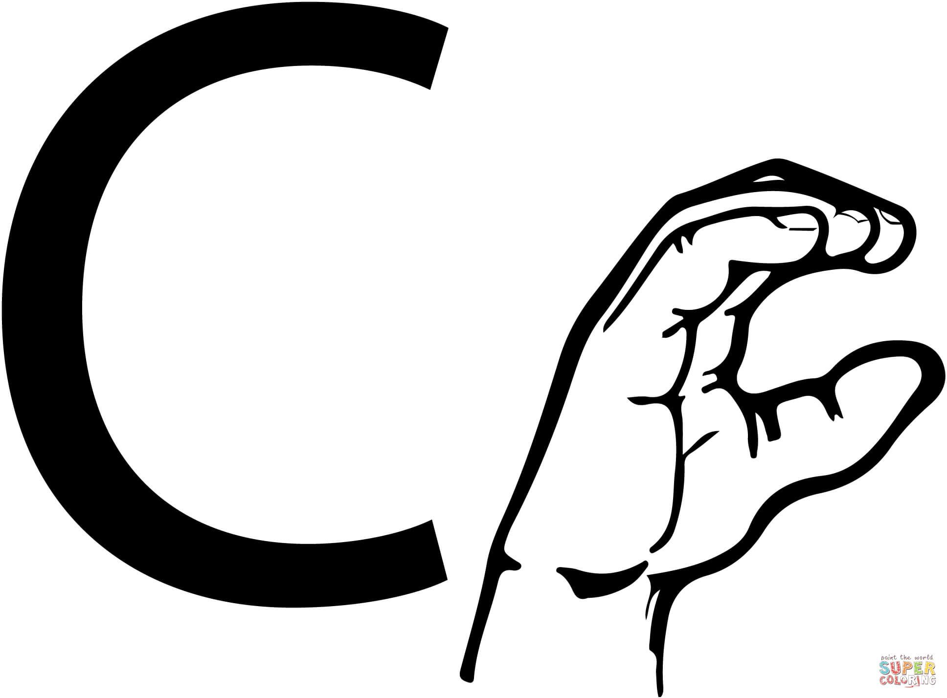 asl sign language letter c coloring page free printable coloring