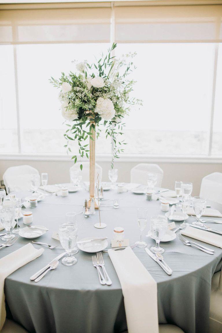 Timeless Grey And Ivory Tampa Wedding Centre Club Wedding Table Linens Ivory Wedding Decor Grey Wedding Decor
