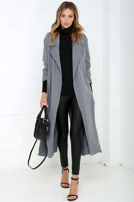 aa62bc567eb Night Drive Grey Trench Coat | Fall Outfits | Grey trench coat ...