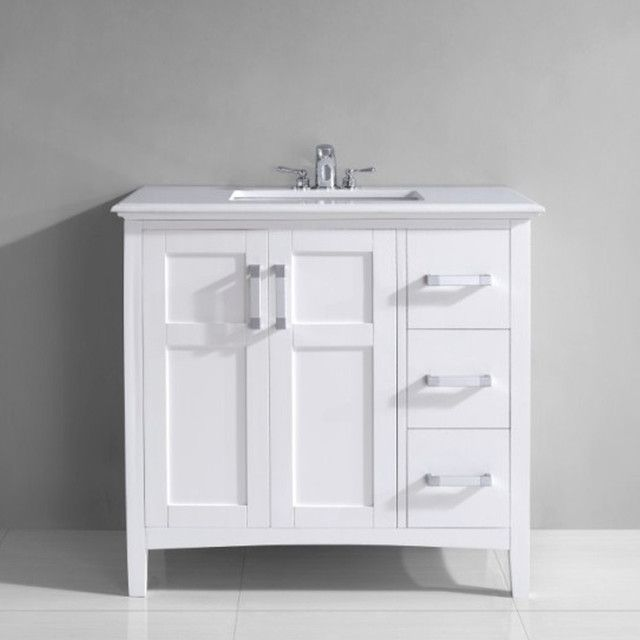 36 Vanity With Drawers Centered Sink With Images White