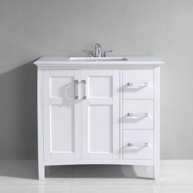 "36"" Vanity With Drawers Centered Sink  Client  B  Evanston Simple 40 Inch Bathroom Vanity Inspiration Design"