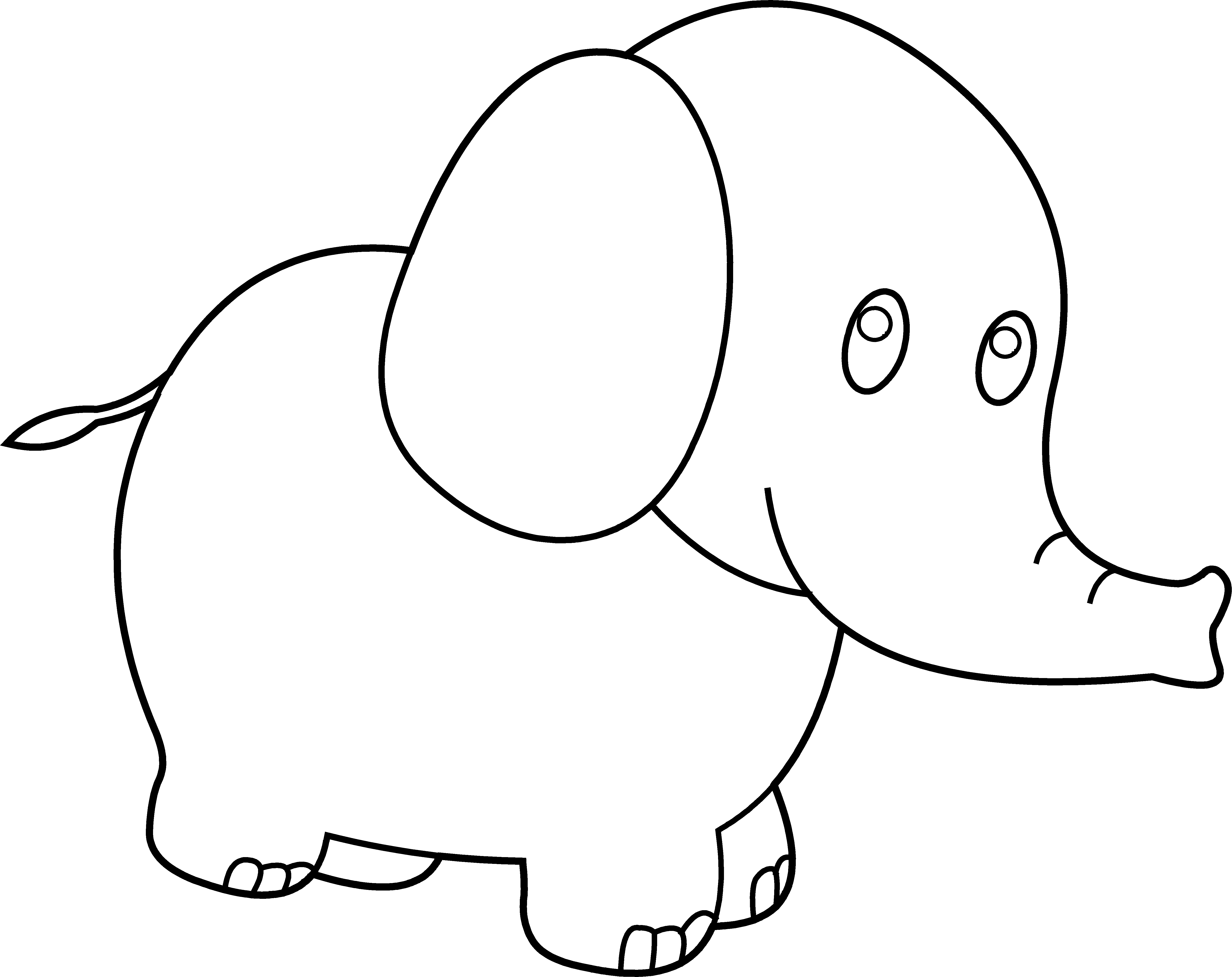 Cute Elephant Outline Drawing Cute elephant coloring page