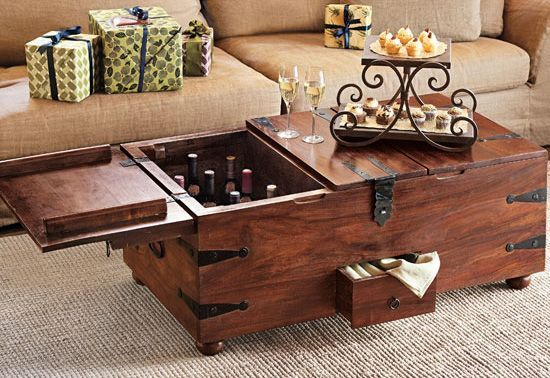 This cool new Wine Bar Treasure Trunk This beautiful coffee table
