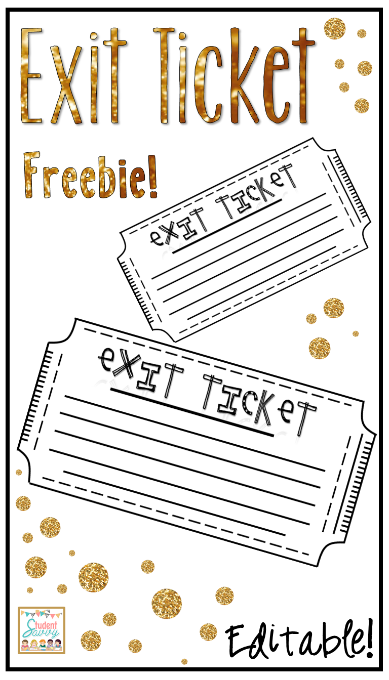 Exit Tickets / Tickets out the door Free and Editable