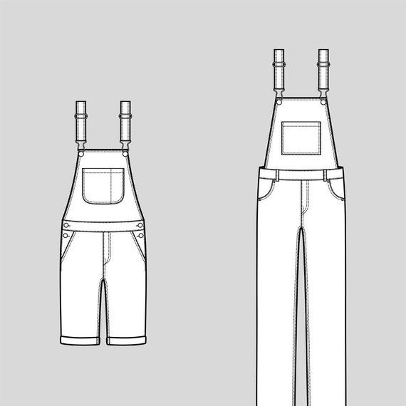 c2f0944a6172 Jean overalls vector fashion flat sketch