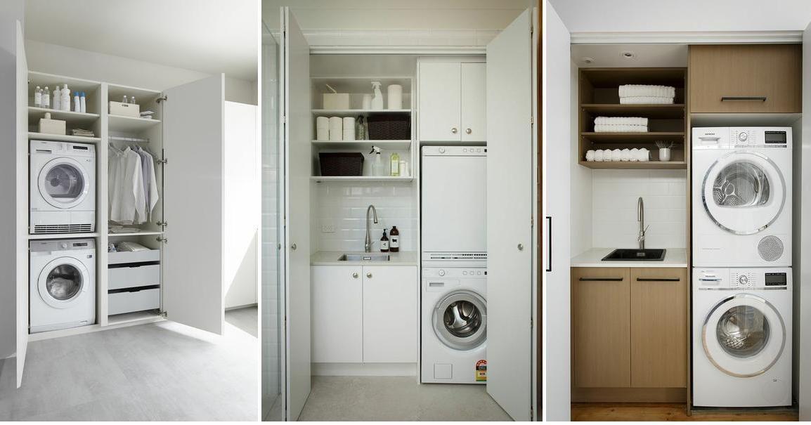Ideas para una lavandería mini   Muebles lavadora, Baño de ...