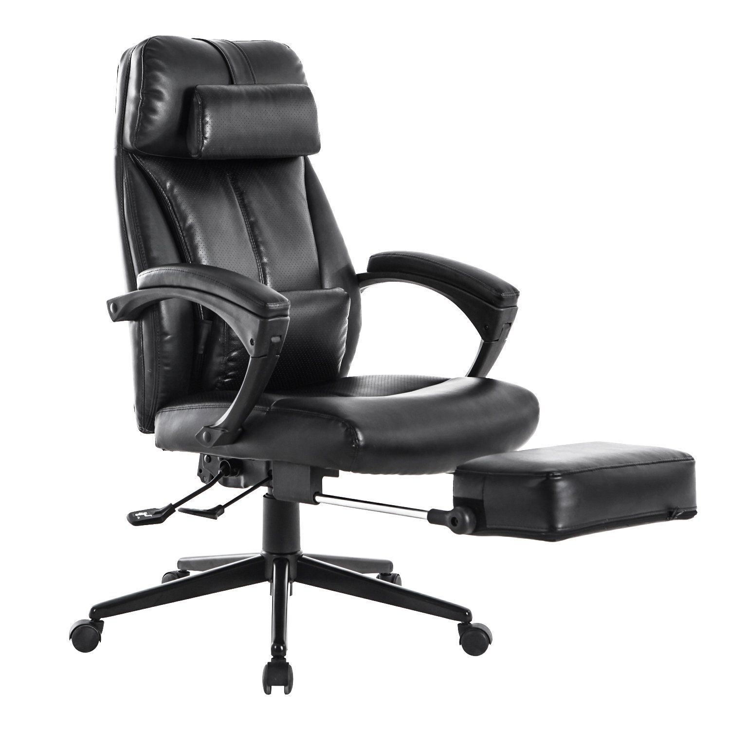 reclining office chairs. LCH Reclining Office Chair - High Back Leather Executive Computer Desk With Adjustable Angle Recline Chairs C