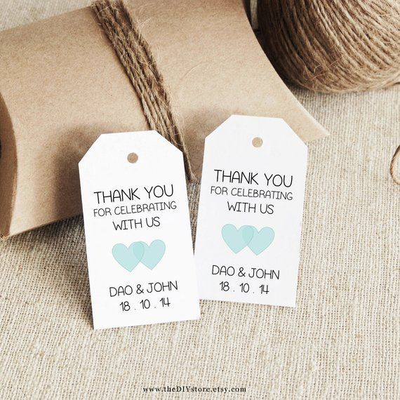 favor tag template printable small double heart design wedding tag