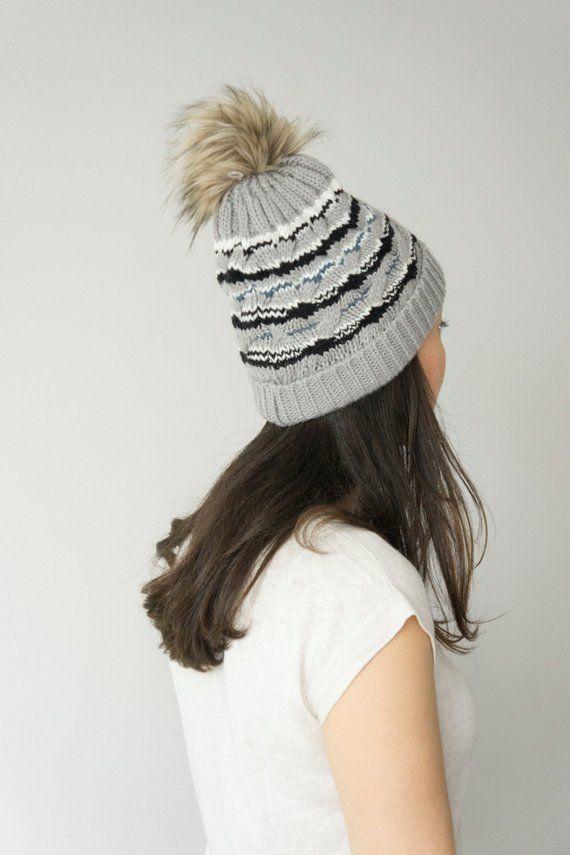 7c45ae5c3c7 Knit Hat Pom Pom Beanie - Slouchy Beanie - Womens Hat - Pom Pom Hat ...