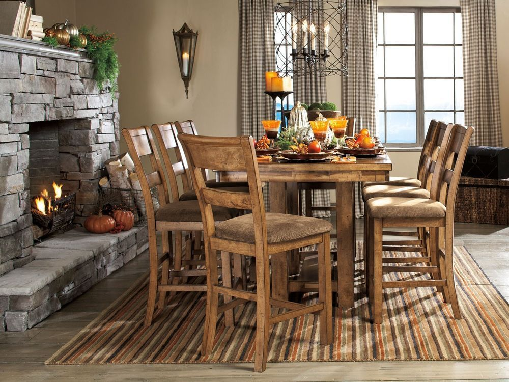 BLANCHE-9pcs COTTAGE RECTANGULAR COUNTER HEIGHT DINING ROOM TABLE