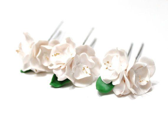 Fiori Bianchi Lista.Cherry Blossom Bianco Da Sposa Perni Di Capelli Perno Di Capelli