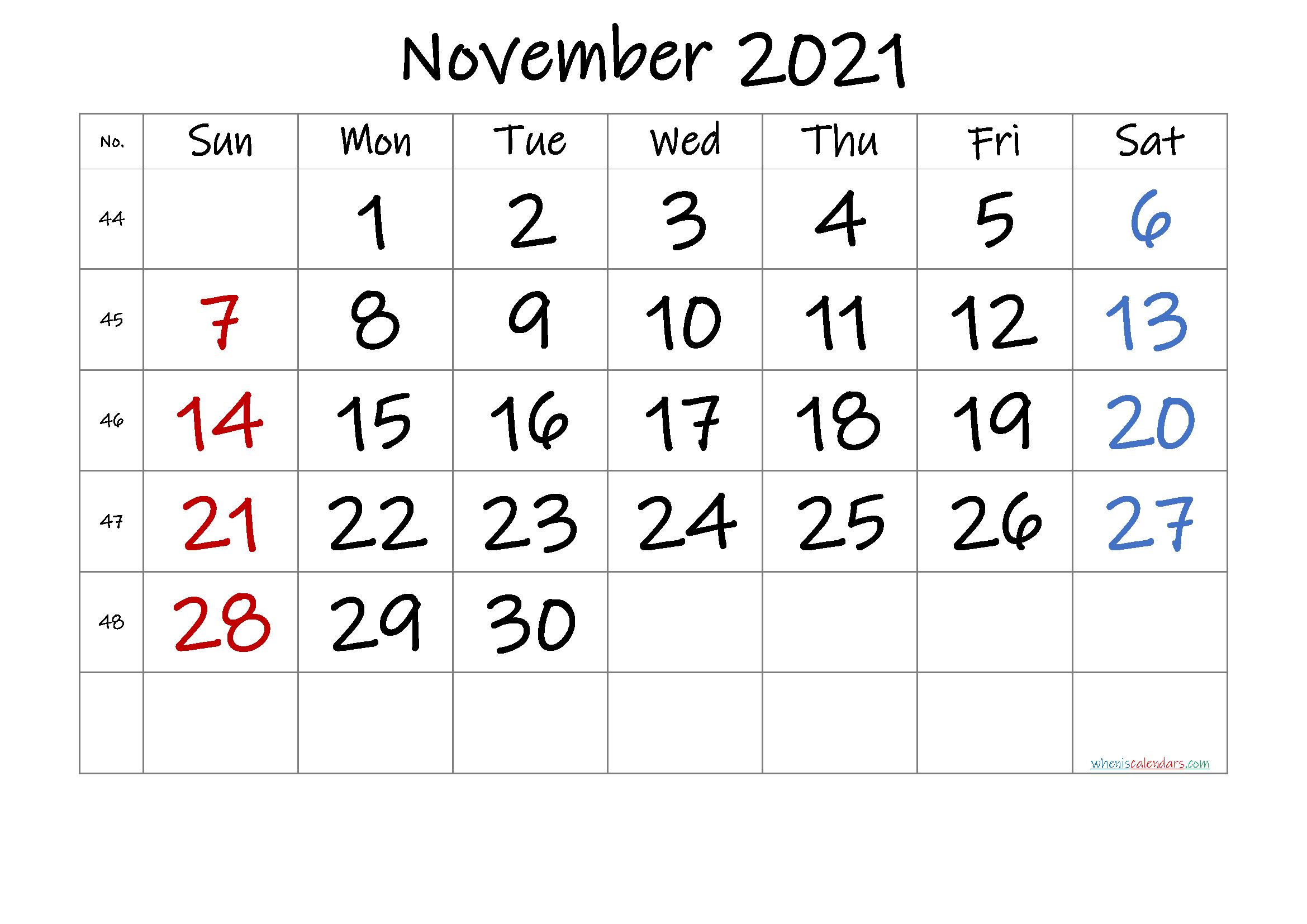 Free Printable November 2021 Calendar Premium In 2020 Calendar Printables Printable Calendar Template 2021 Calendar