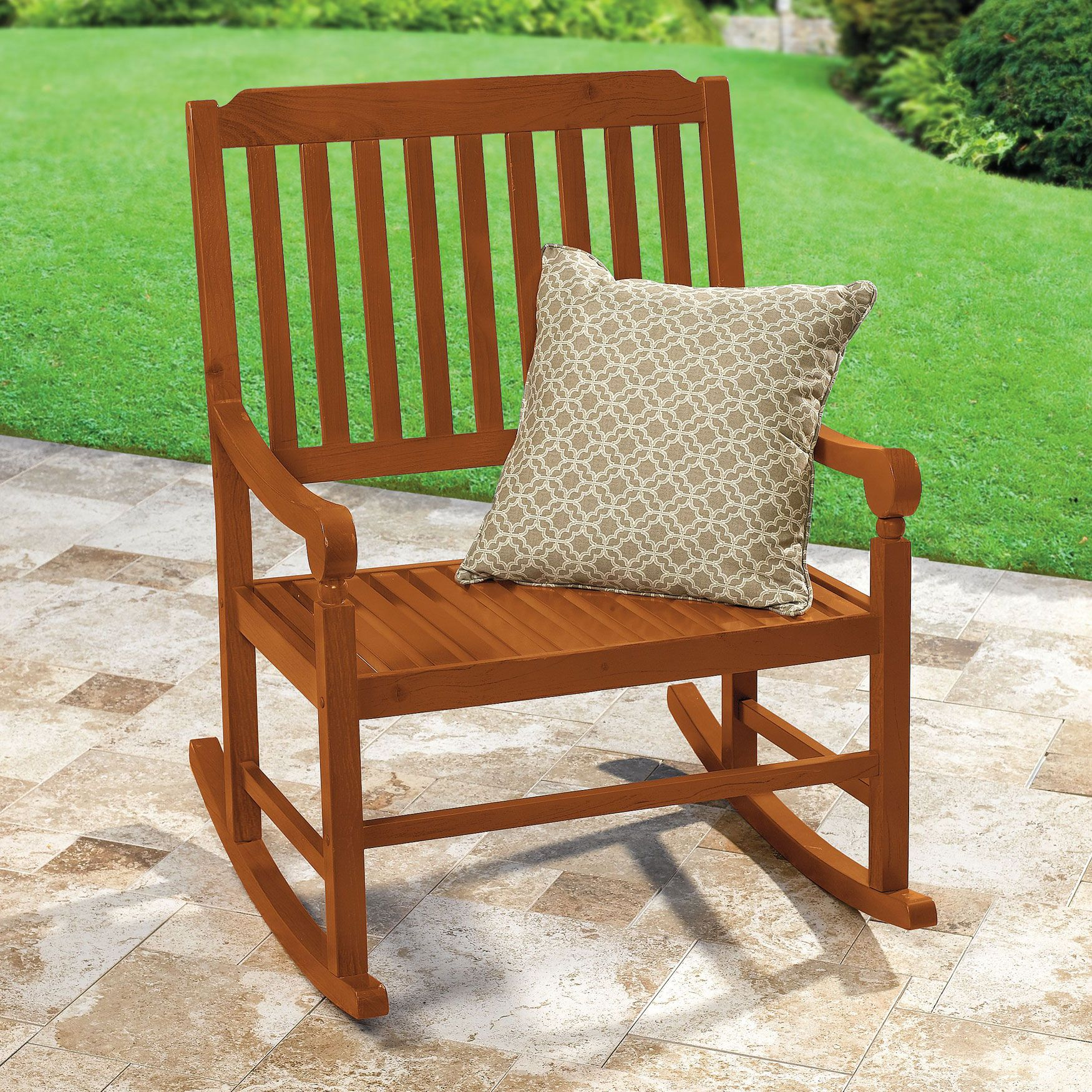 Extra Wide Outdoor Wooden Rocking Chair Patio Furniture