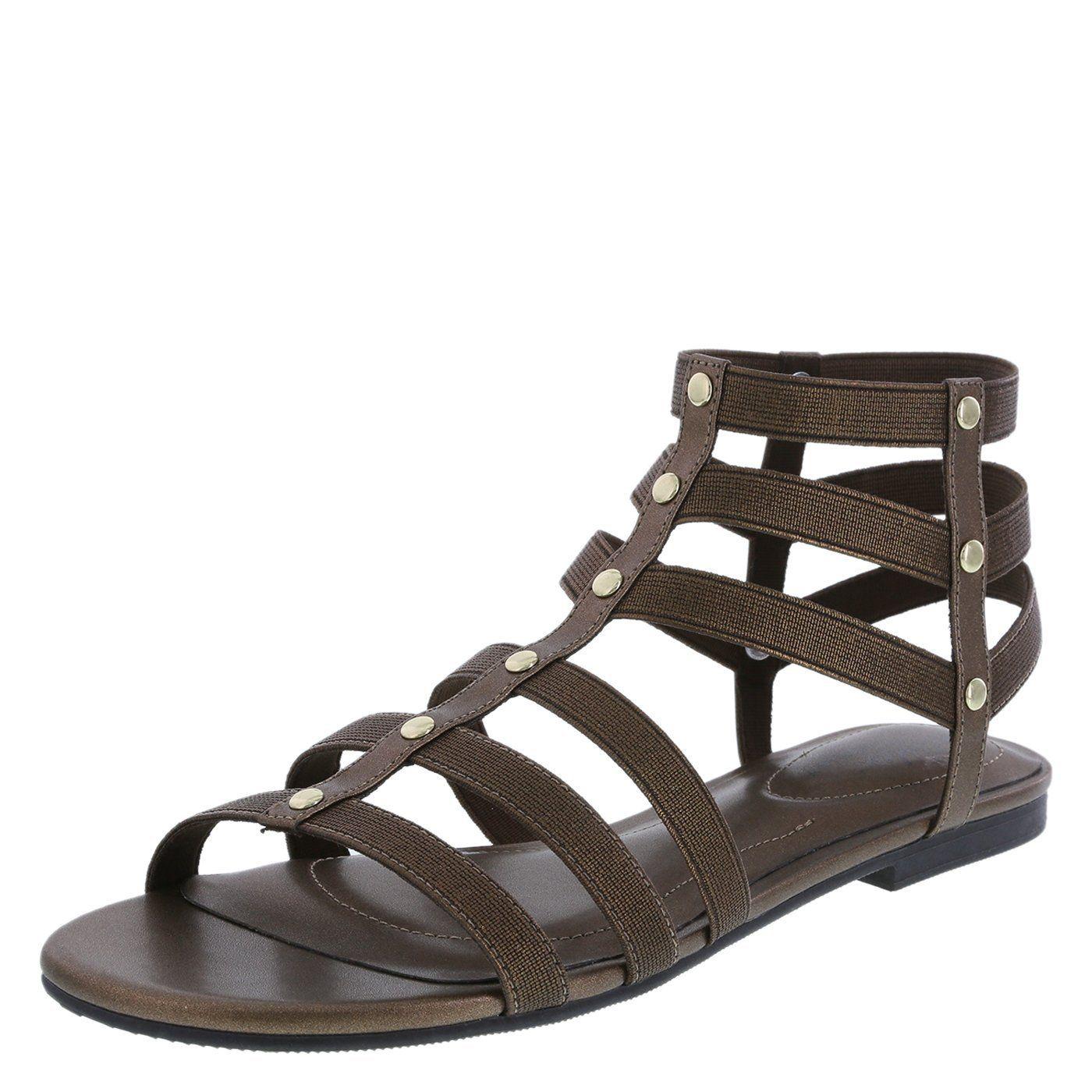 ce8968eae67c3 Amazon.com: dexflex Comfort Women's Troy Stretch Gladiator Flat ...